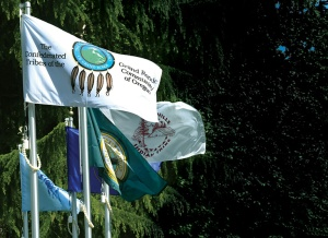 The design has been revised with added color and text, seen here in a tribal flag display at the State Capitol in Salem.  Photo from tribal website.
